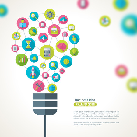 conocimiento: Bombilla con iconos de negocios Patr�n. Ilustraci�n del vector. Idea de Negocio Concepto Creativo. Idea abstracta Plantilla Infograf�a.