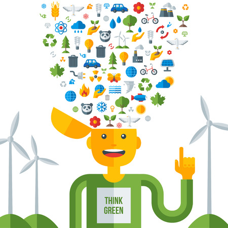 Man with ecology icons in his head, think green. Vector illustration. Save world. Save the planet. Save the Earth. Creative concept of Eco Technology. Think green. Vector