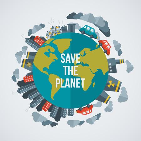desarrollo sustentable: Concepto creativo salvar el planeta. Ilustración del vector. Ciudades sucias, las fábricas, la contaminación del aire, vertederos. Plantas atómicas. Ahorre mundo. Salve el planeta. Salvar la Tierra