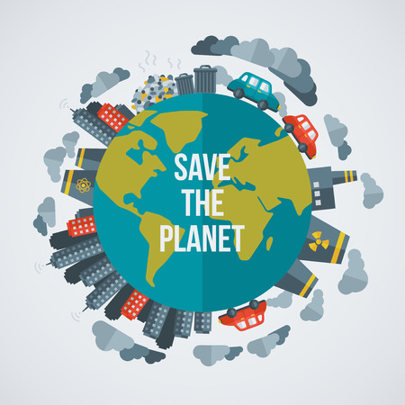 sustainable development: Creative concept Save the Planet. Vector illustration. Dirty cities, factories, air pollution, landfill. Atomic plants. Save world. Save the planet. Save the Earth