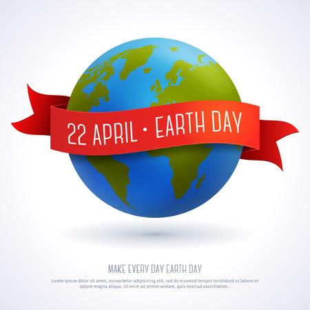 planeta tierra feliz: Ilustración vectorial de globo de tierra con la cinta roja y el texto Día de la Tierra 22 de abril. Concepto de la ecología. Plantilla de tarjeta del día de la Tierra.