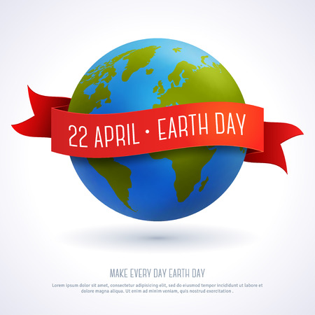 cartoon earth: Vector illustration of earth globe with red ribbon and text Earth Day 22 April. Ecology concept. Earth day card template.