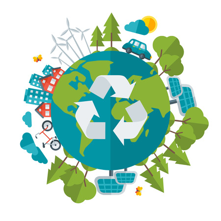 ecology icons: Eco Friendly, green energy concept, vector illustration. Solar energy town, wind energy, electric cars. Save the planet concept. Go green. Save the Earth. Earth Day.