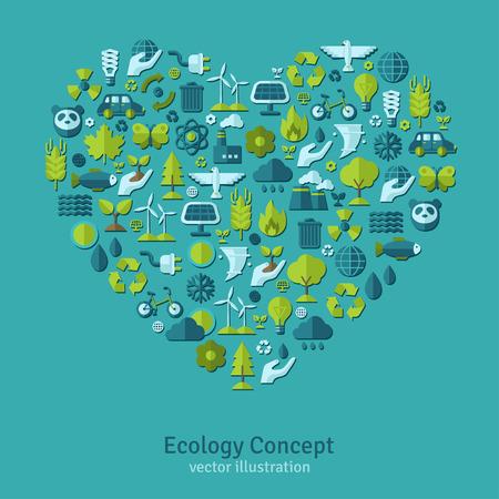 radiacion solar: Ecología iconos planos dispuestos en el corazón. Ilustración del vector. Mano con el brote, la mano con la gota de agua. Signo solar de energía, señal de la energía eólica, los animales salvajes. Excepto el concepto del planeta.