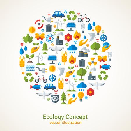 Ecologie vlakke pictogrammen die in cirkel. Vector illustratie. Hand met spruit, hand met water druppel. Zonne-energie teken, windenergie teken, wilde dieren. Sla de planeet concept.