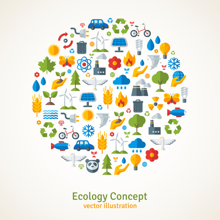 Ecology flat icons arranged in circle. Vector illustration. Hand with sprout, hand with water drop. Solar energy sign, wind energy sign, wild animals. Save the planet concept.