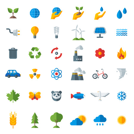 recycling: Ecology flat icons set isolated on white. Vector illustration. Hand with sprout, hand with water drop. Solar energy sign, wind energy sign, wild animals. Save the planet.