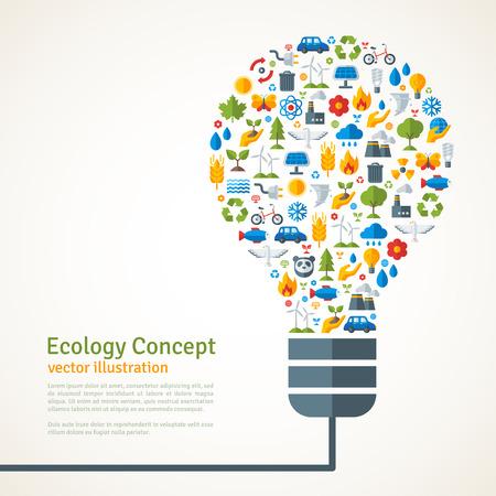 radiacion solar: Bombilla con la ecología Iconos Patrón. Ilustración del vector. Ecologic Concepto Creativo. Plantilla Infografía abstracta. Excepto el concepto del planeta.