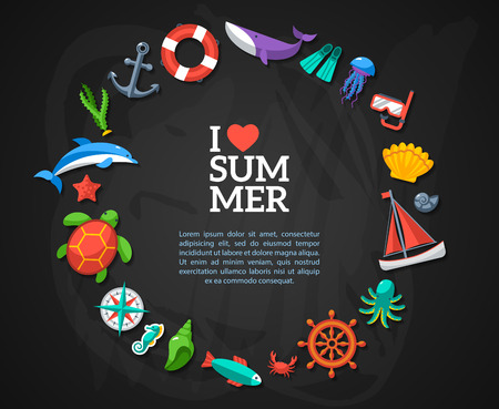 arrange: Summer concept. Flat icons arrange in the form of circle. Vector illustration. Marine symbols. Sea leisure sport.