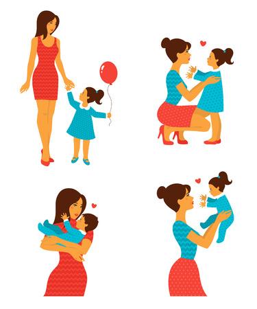 bebes ni�as: Familia alegre feliz. Ilustraci�n del vector. La madre y el beb� riendo y abrazos. Personajes dulces fijados para el d�a de madres feliz de dise�o. Estilo adornado de la vendimia. Vectores