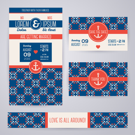 anniversary beach: Set of romantic wedding invitations in marine style. Vector illustration. Sea symbols pattern in vintage style. Save the date cards. Beach party. Typographic template for your text. Illustration