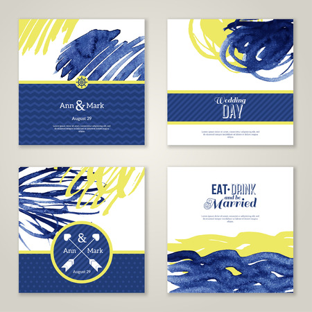 Set of watercolor romantic wedding invitations. Vector illustration. Hand drawn design elements in marine style. Save the date cards. Blue and yellow colors. Menu design. Illustration