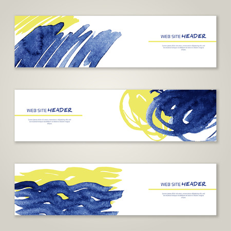 vector banners or headers: Set of abstract vector watercolor headers for website. Paint splash. Vector illustration. Abstract backgrounds and banners. Illustration