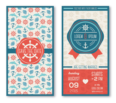 Set of romantic wedding invitations in marine style. Vector illustration. Sea symbols pattern in vintage style. Save the date cards. Beach party. Typographic template for your text. Vector