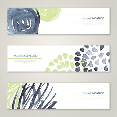 website backgrounds: Set of abstract vector watercolor headers for website. Paint splash. Vector illustration. Abstract backgrounds and banners. Illustration
