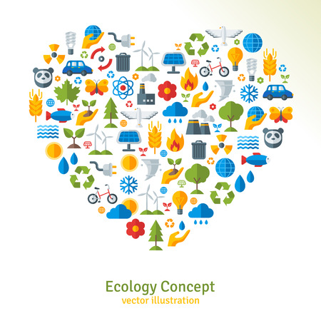 flat panel: Ecology flat icons arranged in heart. Vector illustration. Hand with sprout, hand with water drop. Solar energy sign, wind energy sign, wild animals. Save the planet concept. Illustration