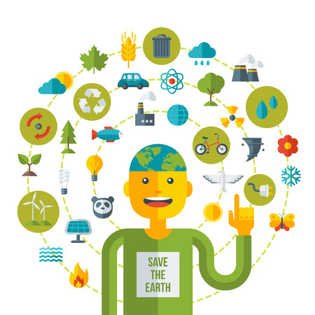 earth pollution: Creative concept of Ecology Science. Vector illustration. Man with Eco icons and symbols. Go green concept. Save world. Save the planet. Save the Earth. Think green.