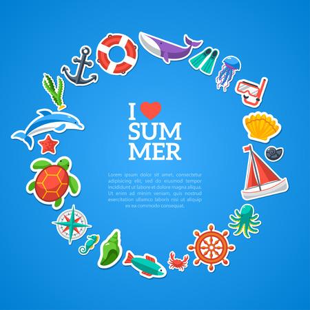 arrange: Summer concept. Flat icons arrange in the form of circle. Vector illustration. Marine symbols. Sea leisure sport.