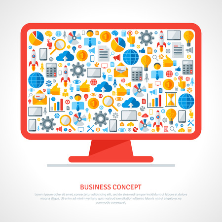 responsive design: Monitor with flat business icons inside. Vector illustration. Business startup concept. Online services. Marketing concept in flat style.  Cloud computing technologies.
