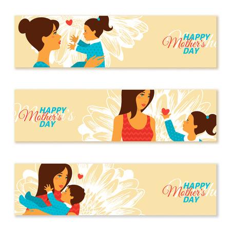 baby moeder: Gelukkige Moederdag. Vector illustratie. Horizontale banners met moeder en baby in vintage stijl. Moeder en dochter. Stock Illustratie