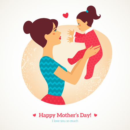mother and baby: Happy Mothers Day. Vector illustration. Mother and baby in vintage style. Mother and daughter.