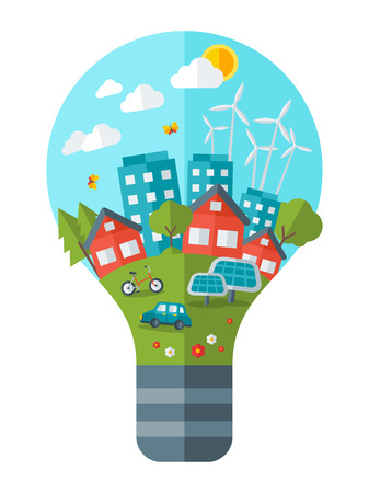 グリーン コンセプトのベクトル図を考えます。電球を緑豊かな街。 世界を救います。惑星を保存します。地球を救います。エコ技術の創造的な概念