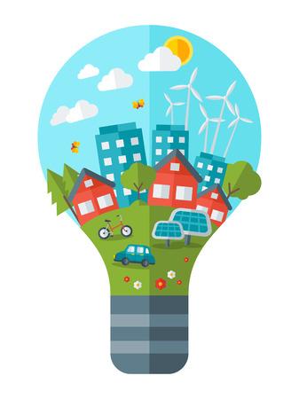 녹색 개념 벡터 일러스트 레이 션을 생각하십시오. 전구 녹색 도시입니다. 세계를 저장합니다. 행성을 저장합니다. 지구를 저장합니다. 에코 기술의 창 일러스트