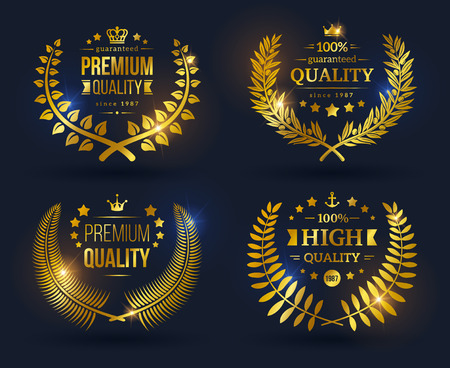 Vector quality emblems with laurel wreath. Golden laurel wreath with crowns, stars and ribbons on black background. Shining glossy Quality Guarantee sign.