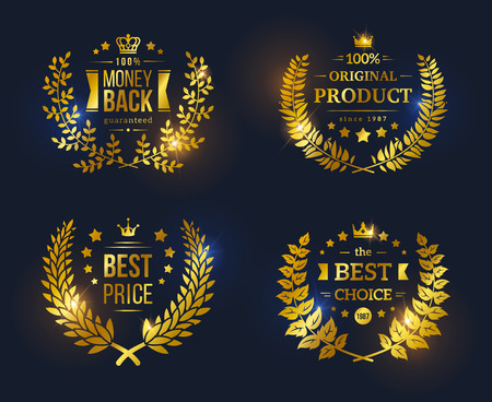 seal: Vector vintage badges collection Best choice, Best price, Original Product, Money Back Guarantee. Shining glossy Premium Quality sign on black background Illustration