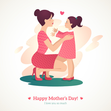 daughter: Happy Mothers Day. Vector illustration. Mother and baby in vintage style. Mother and daughter.