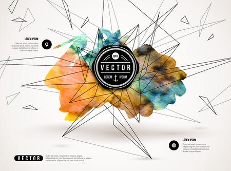 페인트 얼룩과 기하학적 인 도형과 3D 추상적 인 배경입니다. 비즈니스 프리젠 테이션, 전단지, 포스터 벡터 디자인 레이아웃. 과학 미래의 기술 배경입 일러스트