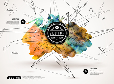 tecnologia: Fundo 3D abstrato com tinta mancha e formas geom Ilustração