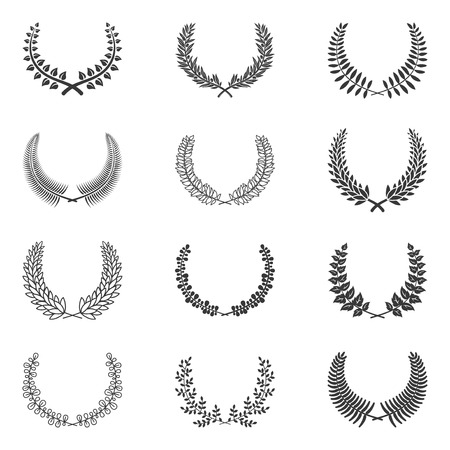 olive wreath: Premium quality laurel wreath collection on white background. Vector illustration. Olive wreath.