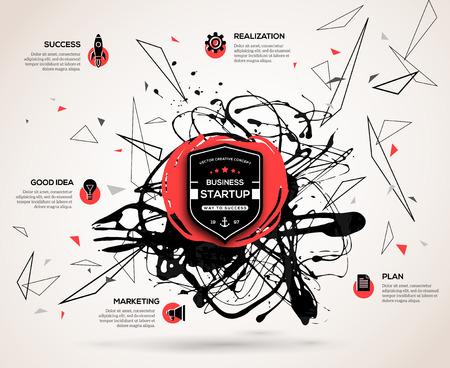 起動時のコンセプトで創造的なインフォ グラフィック。抽象的な背景ベクトル ペイント汚れとビジネスのプレゼンテーションやプロモーション素材