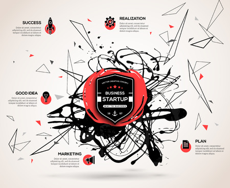Creative infographics concept for startup. Abstract background with vector paint stain and geometric shapes for business presentation or promotional material. Scientific future technology background.