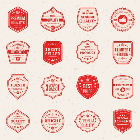 Collection of Premium and High Quality labels. Vector illustration. Set of retro vintage badges Money back, Best choice, Best price, Original Product. Quality Guarantee sign. Иллюстрация