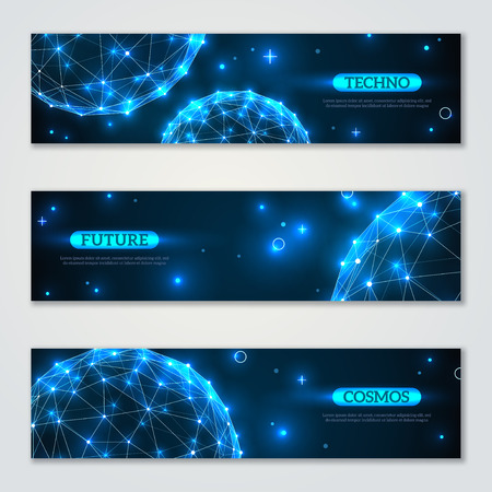 medical technology: Banners set with wireframe polygonal elements. Shining spheres with connected lines and dots. Connection Structure. Geometric Modern Technology Concept. Abstract molecules design. Medical background