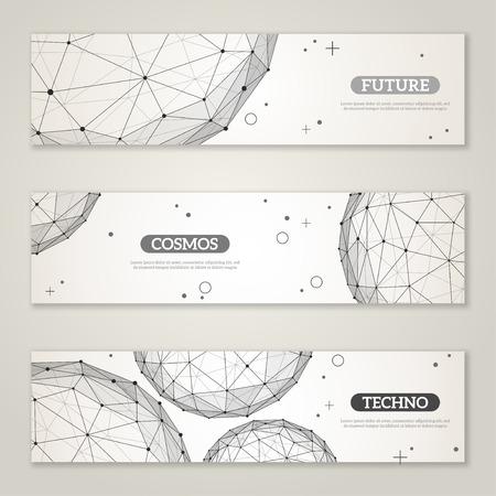 Banner set con wireframe maglia elementi poligonali. Sfere con linee collegate e punti. Struttura di collegamento. Geometrica Modern Technology Concept. Disegno astratto molecole. Sfondo medico Archivio Fotografico - 39947506