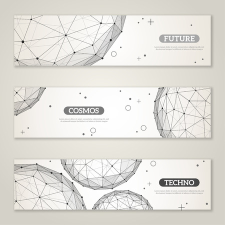 physics: Banners set with wireframe mesh polygonal elements. Spheres with connected lines and dots. Connection Structure. Geometric Modern Technology Concept. Abstract molecules design. Medical background