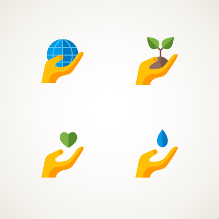 Sign or logo with hand holding elements Earth, heart, sprout, water drop. Vector illustration. Think green concept set. Save the planet. Environmentally friendly.