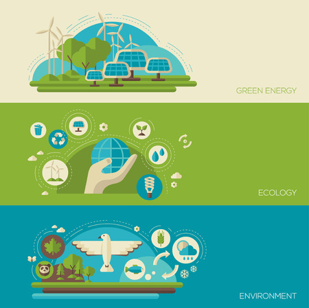 Flat design vector concept illustration with icons of ecology, environment, green energy and pollution. Save world. Save the planet. Save the Earth. Creative concept of Eco Technology.