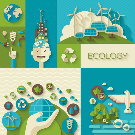environment: Flat design vector concept illustration with icons of ecology, environment, green energy and pollution. Save world. Save the planet. Save the Earth. Creative concept of Eco Technology.
