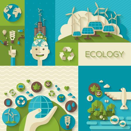 Piso de diseño vectorial Ilustración del concepto con los iconos de la ecología, el medio ambiente, la energía verde y la contaminación. Ahorre mundo. Salve el planeta. Salvar la Tierra. Concepto creativo de Eco Technology.