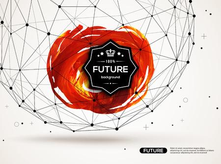 페인트 얼룩과 기하학적 인 도형과 3D 추상적 인 배경입니다. 비즈니스 프리젠 테이션, 전단지, 포스터 벡터 디자인 레이아웃. 과학 미래의 기술 배경입니다.