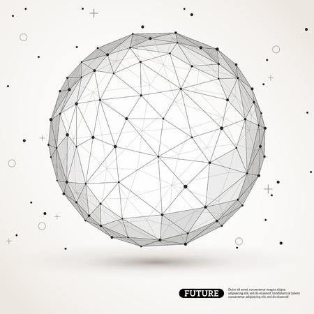 Konstruktions-mesh polygonala elementet. Sfär med anslutna linjer och punkter. Anslutningsstruktur. Geometriska Modern Technology Concept. Digital Data Visualization. Social Network Graphic Concept