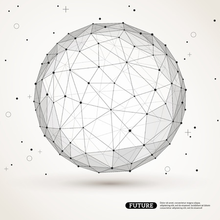 Wireframe mesh polygonal element. Sphere with connected lines and dots. Connection Structure. Geometric Modern Technology Concept. Digital Data Visualization. Social Network Graphic Concept Ilustração