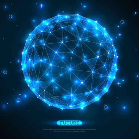 технология: Абстрактные векторные сфера. Футуристический технологии каркасного сетка полигональной элемент. Структура соединения. Геометрическая Современные технологии Концепция. Цифровой Визуализация данных. Социальная сеть Графика Концепция
