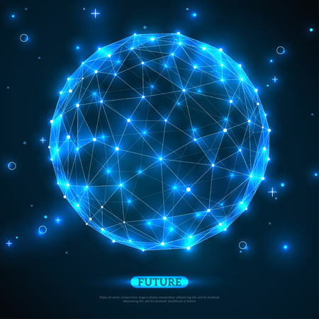 blue network: Abstract vector sphere. Futuristic technology wireframe mesh polygonal element. Connection Structure. Geometric Modern Technology Concept. Digital Data Visualization. Social Network Graphic Concept