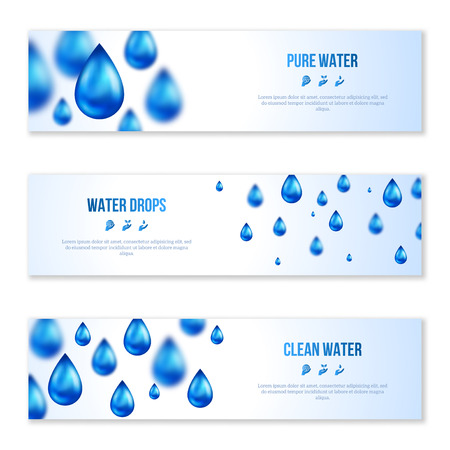 Blue shiny water drops banners set. Vector illustration. Fresh rain template for cover card design. Pure organic water. Clean water. Mountain mineral rich water. Spring water. Illustration