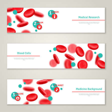 Blood cells. Medical concept banners set. Vector illustration. Glossy realistic natural red blood cells. Blood donation icons. Donor day infographics template